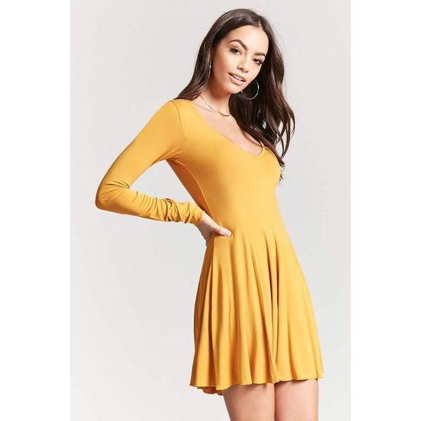 541a1c2df3 Forever21 V-Neck Skater Dress ( 16) ❤ liked on Polyvore featuring dresses