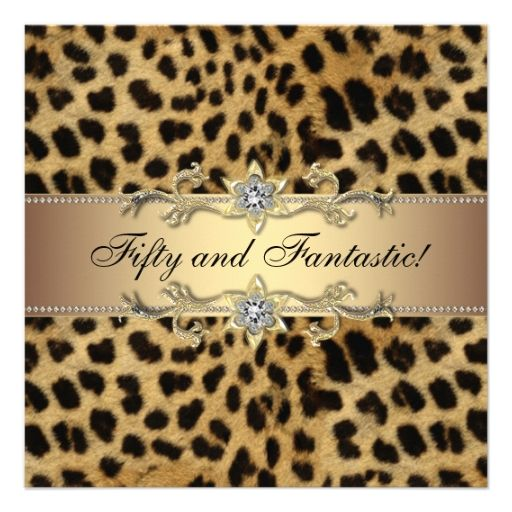 Elegant Leopard Gold Womans Birthday Party Personalized Announcements