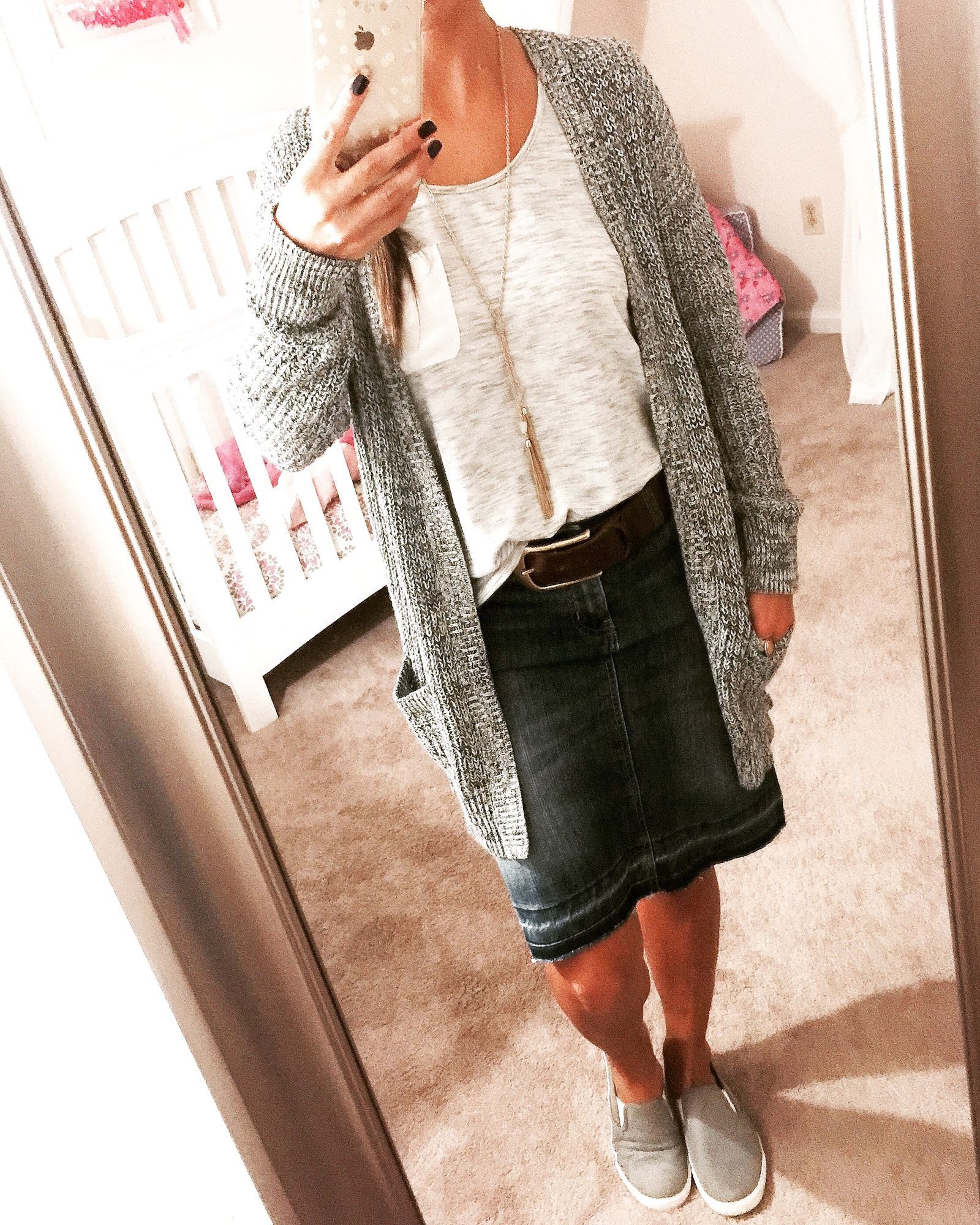 Grey and white Lou & Grey t-shirt, black and white cardigan, jean skirt and slip-on sneakers (Ann Taylor Loft, Gap Factory)