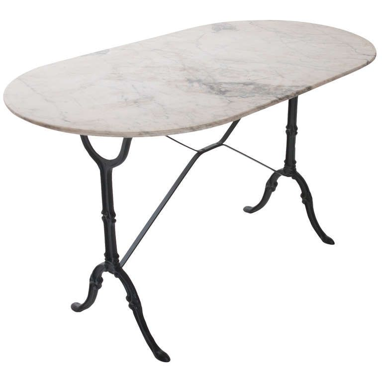 French 1920u0027s White Marble Top And Iron Bistro Table