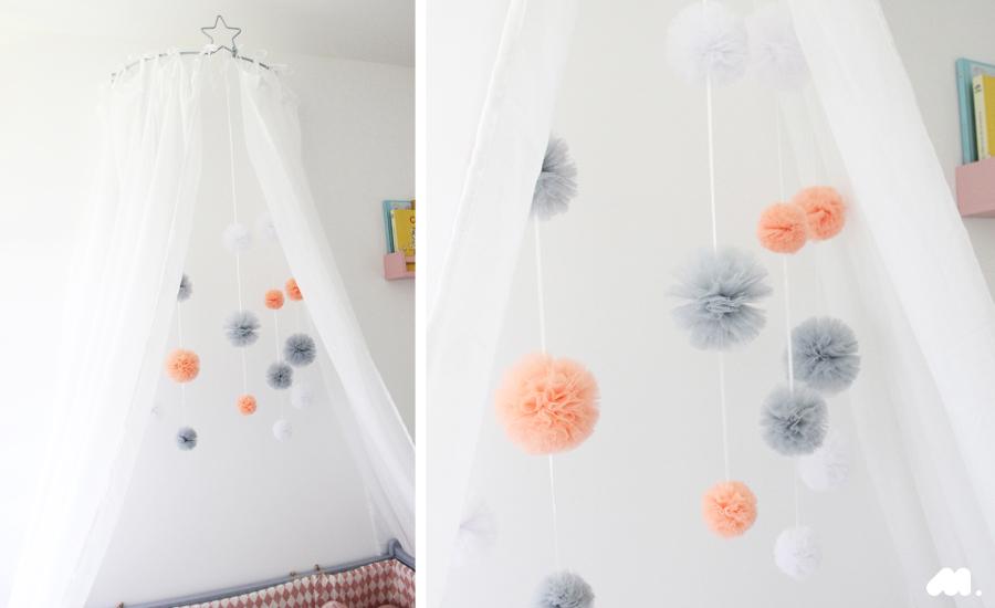 Mobile diy pompon tulle | chambre bébé | Pinterest | Babies, Diy ...