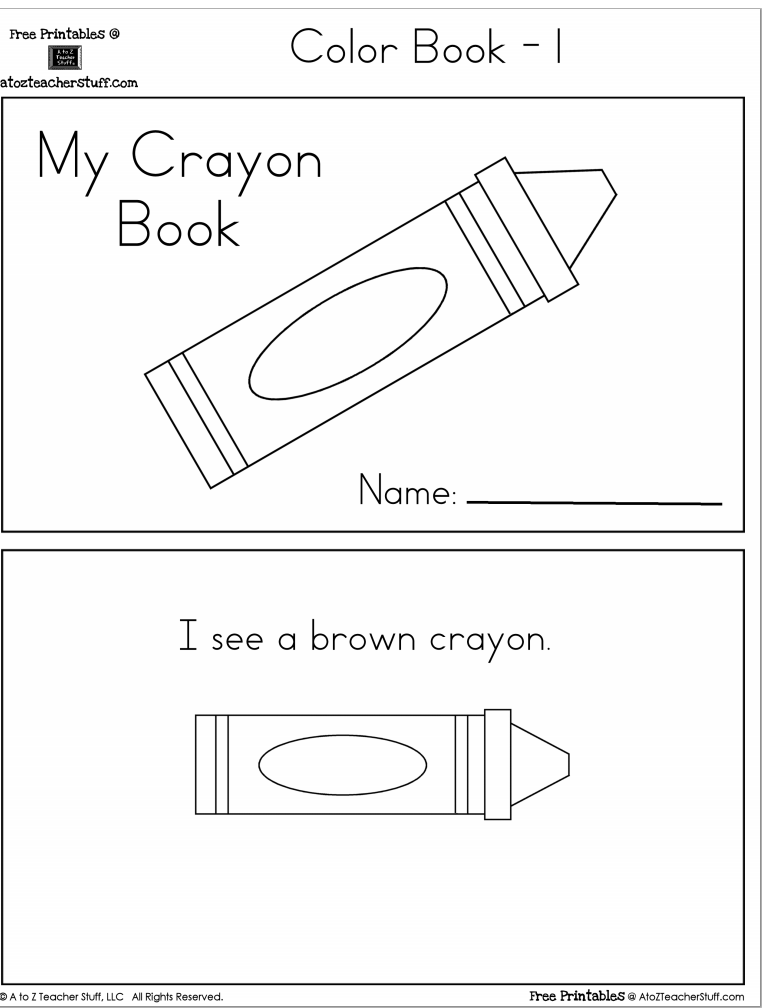 crayon colors printable book with 6 pages free - Preschool Color Books