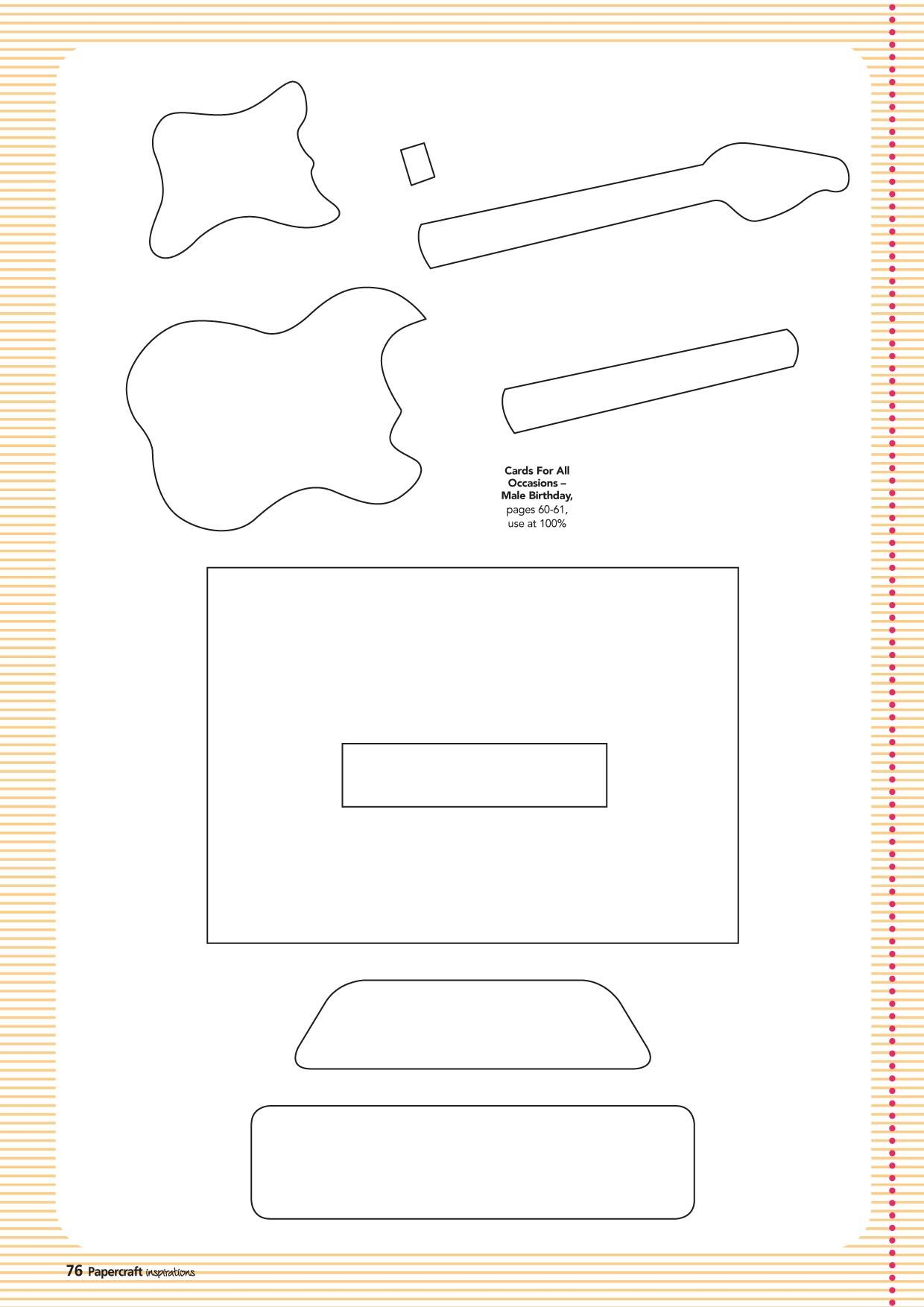 Free Guitar Template Paper From Www Papercraftinspirationsmagazine
