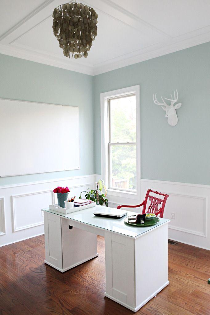 Office Reveal Bower Power Home Blue Living Room Decor