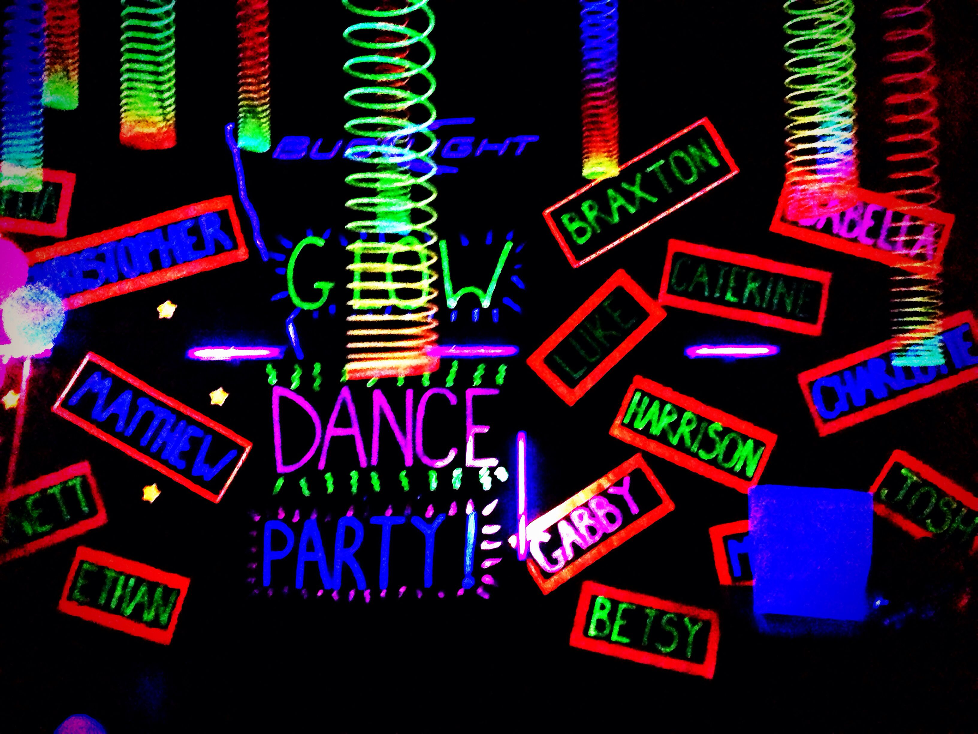 Glow Party Decorations Black Paper With Fluorescent Paint And