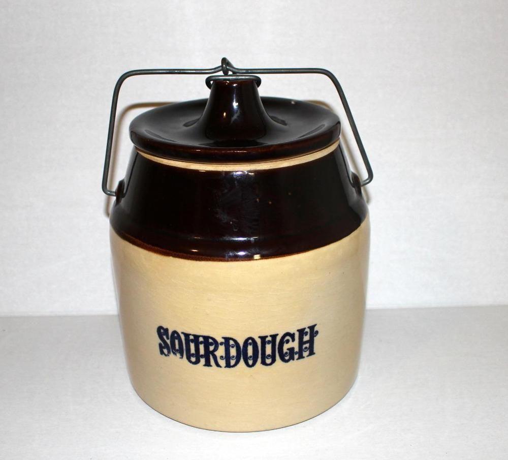 Rare Monmouth Western Stoneware Bail Handled Crock Sourdough Cobalt Blue Stoneware Sourdough Baking Crock