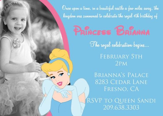 Disney Princess Cinderella Invitation with by DarlingDesignsbySara