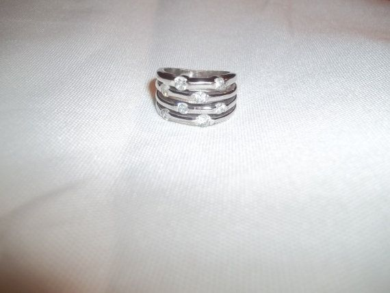 Sparkling Silver Ring With 8 Shining Clear by GrammyKayesCreations