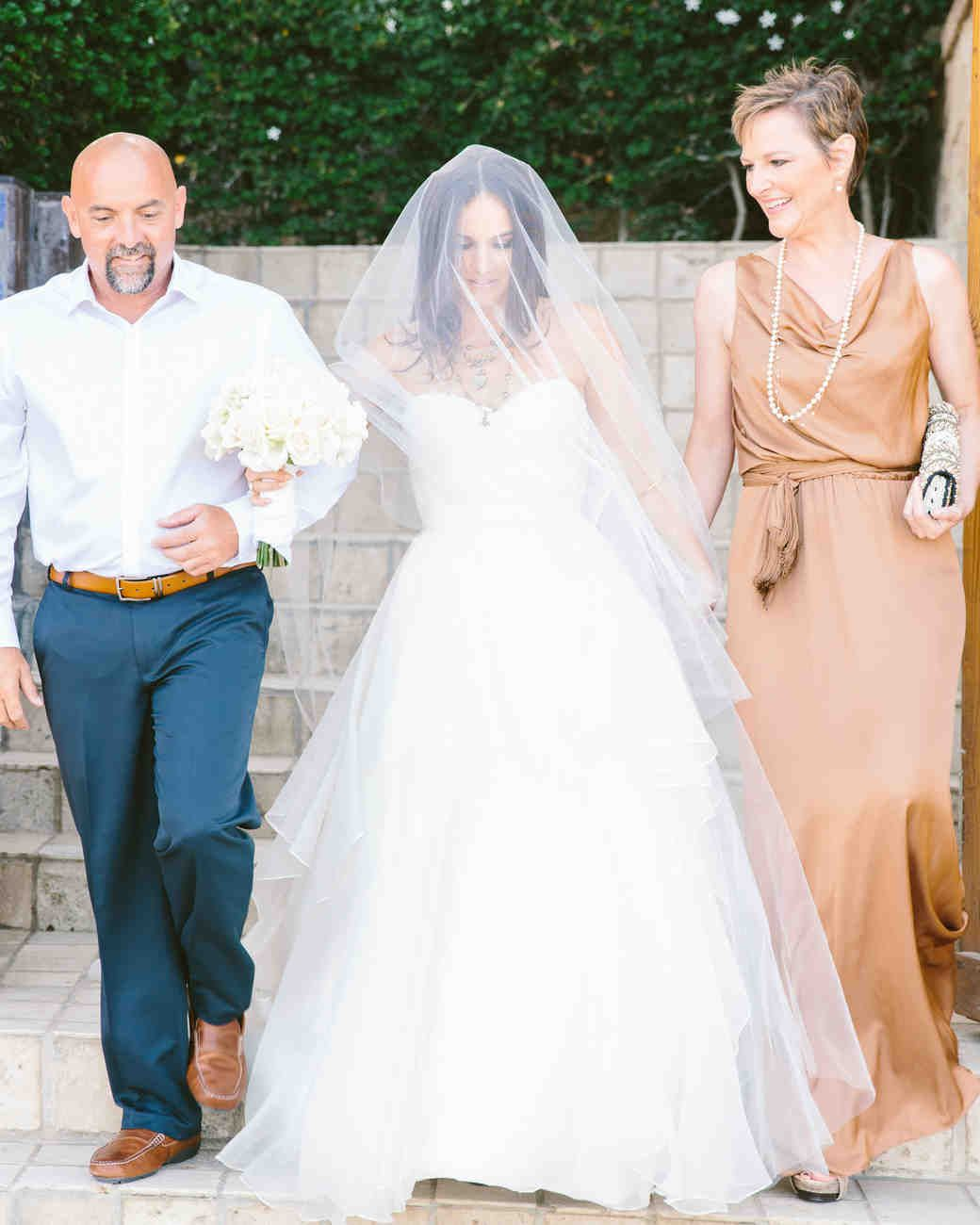 At This Intimate Destination Wedding In Cabo San Lucas The Bride Walked Down Aisle With Her Dad And Mom Who Looked Lovely An Easygoing Floor Length