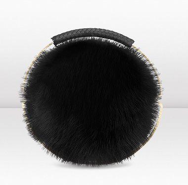 Pompom Fox Fur Clutch Bag Jimmy Choo