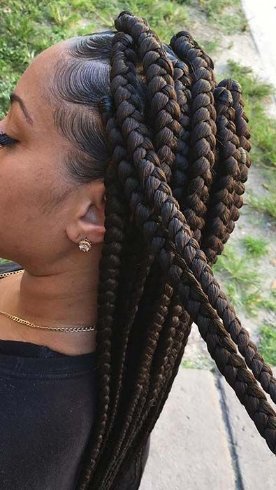 41 Best Jumbo Box Braids Hairstyles | Page 4 of 4 | StayGlam -  Long Jumbo Box Braids  - #Box #BoxBraids #Braids #hairstyles #jumbo #Lashes #LipColors #Makeup #NaturalHairstyles #Page #StayGlam
