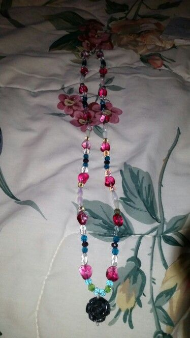 Blue rose with multicolor beads necklace