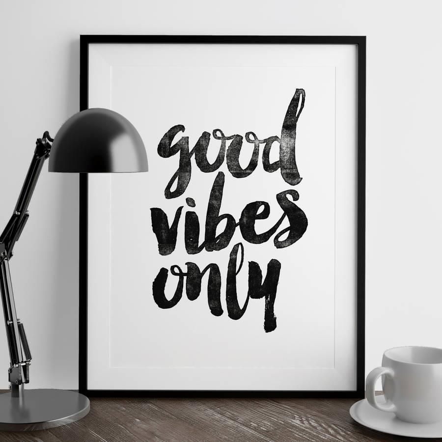 Good Vibes Only http://www.amazon.com/dp/B01708GP7G  inspirational quote word art print motivational poster black white motivationmonday minimalist shabby chic fashion inspo typographic wall decor