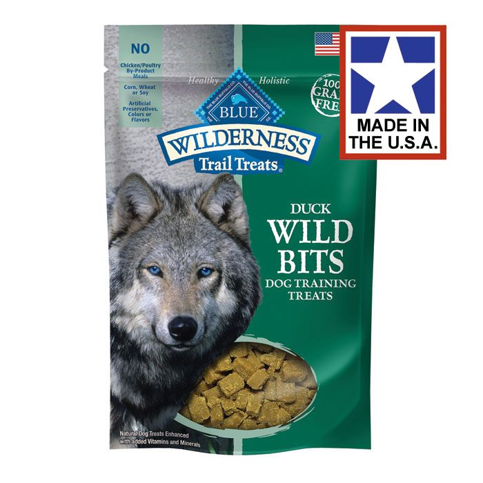 Blue Wilderness Wild Bits Trail Treats - Duck - 4 oz.    All-Natural Blue Buffalo Wilderness Trail Treats are great for snacking while out on the tail or as rewards for good behavior and training. Made with top ingredients, including high protein duck along with DHA and Omega 3 & 6 Fatty Acids for added health benefit.