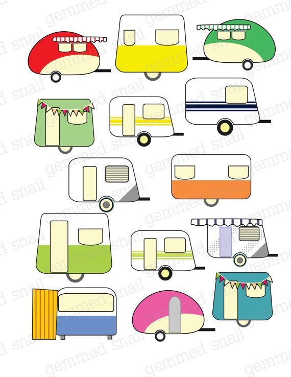 Caravan Clipart Digital Scrapbook Embellishments Trailer Park Summer Camping