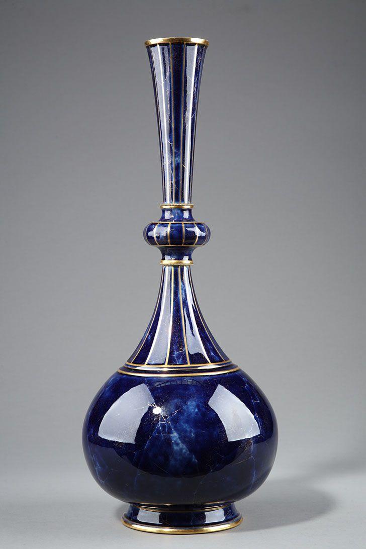 Delhi vase in blue Sevres porcelain, 1875
