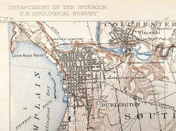 Antique Burlington Vermont 1906 Us Geological Survey Topographic - Lake-champlain-on-us-map