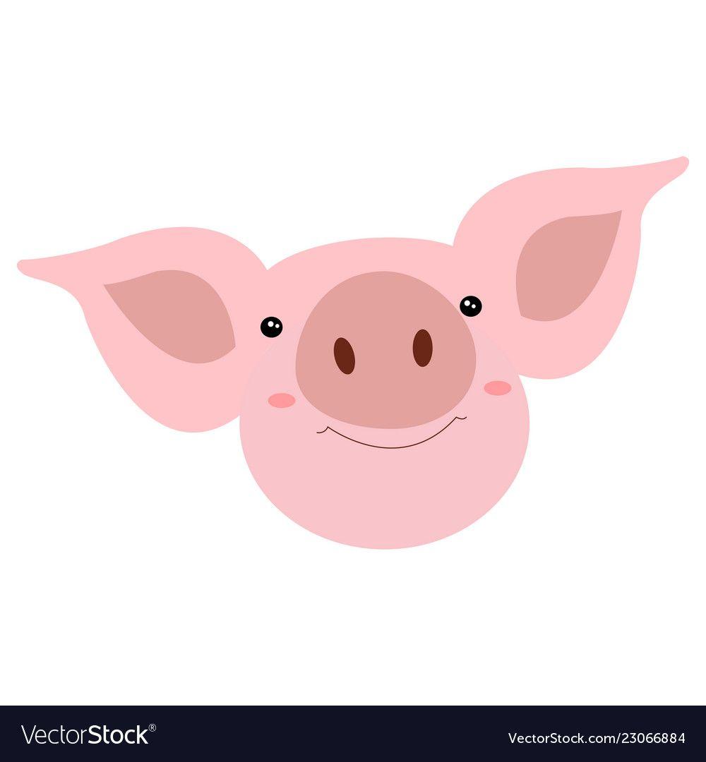 Head Cute Smiles Pig Cartoon Funny Face Vector