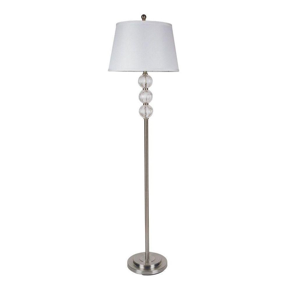 Ore International 62 5 In Satin Nickel Glass Floor Lamp 6188f The Home Depot Crystal Floor Lamp Floor Lamp Lamp