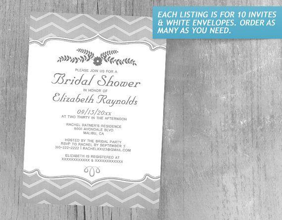 Black And White Zigzag Bridal Shower Invitations