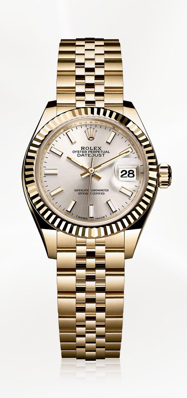 c0ba3545e29 The Rolex Lady-Datejust 28 in 18ct yellow gold with a fluted bezel, silver  dial and Jubilee bracelet.