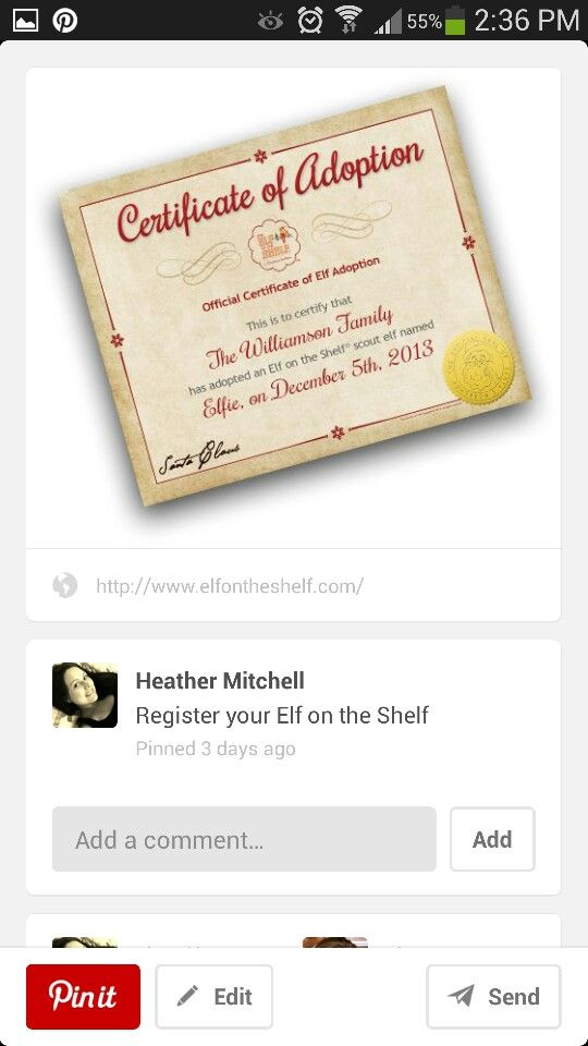 Certificate Of Adoption Elf On The Shelf Pinterest Certificate