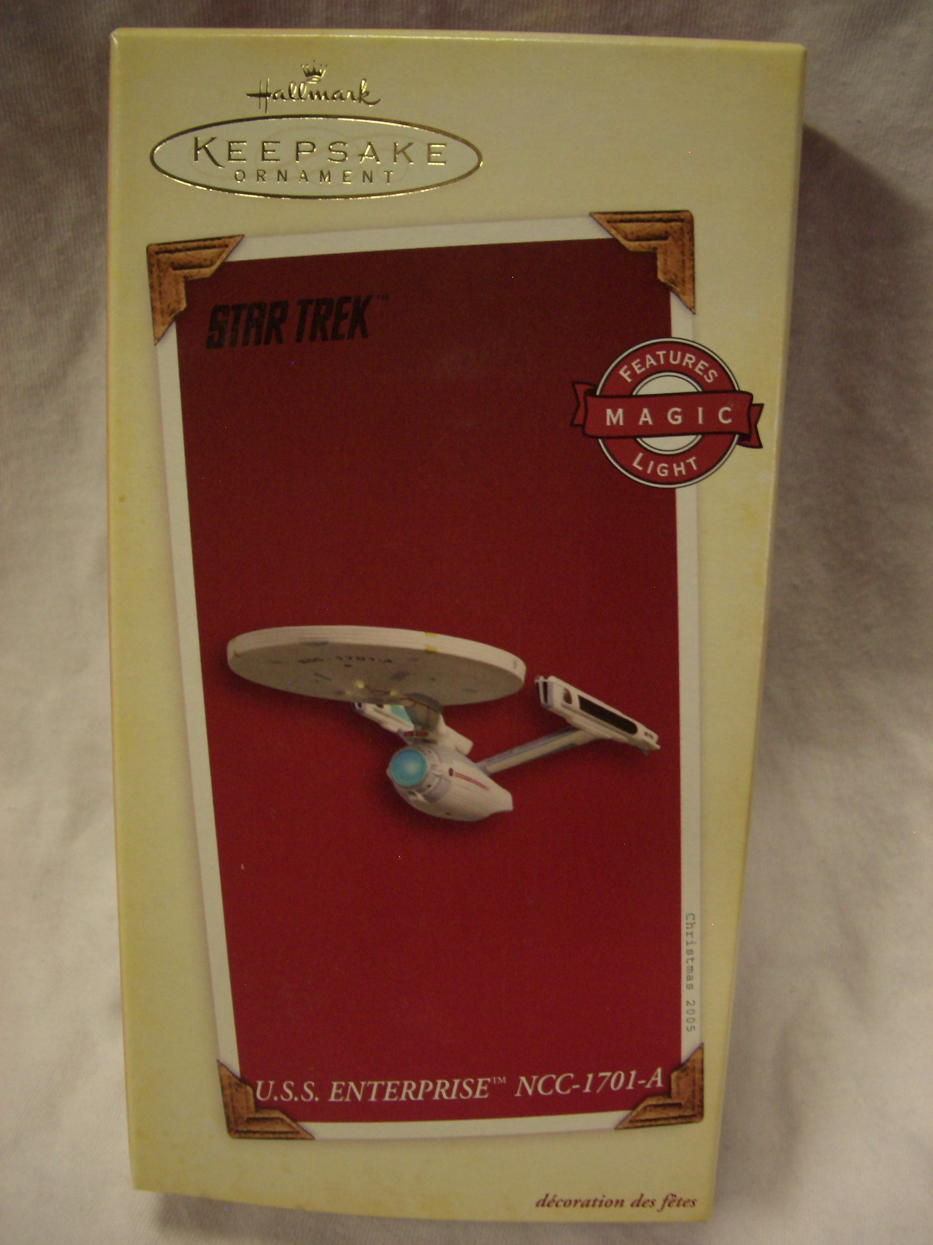 Hallmark Ornament U.S.S. Enterprise NCC-1701-A.  Retailed $28. Dated 2005 and Hard to find now.  Magic Light. Mint in box with Holiday Card.   I have seen this ornament go for as much as $45 with shipping on Ebay. Asking $30.