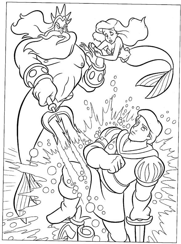King Triton Destroys Statue Coloring Sheet For Boys Mermaid