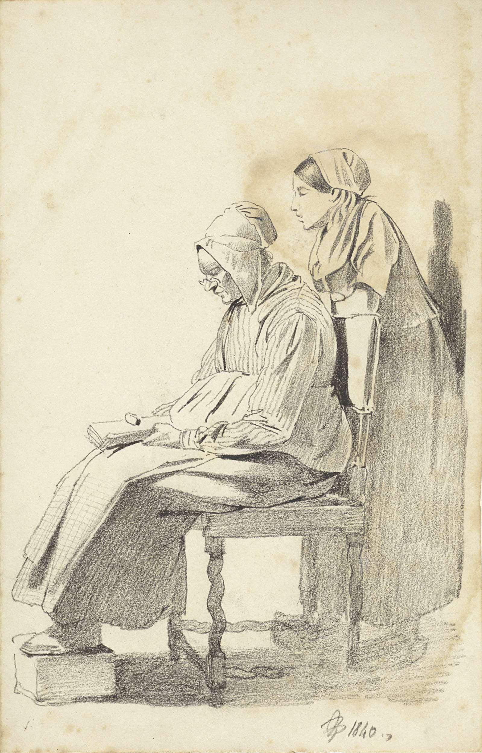 Pieter van Loon | Jonge vrouw staande achter een zittende lezende oude vrouw, van opzij, Pieter van Loon, 1840 |