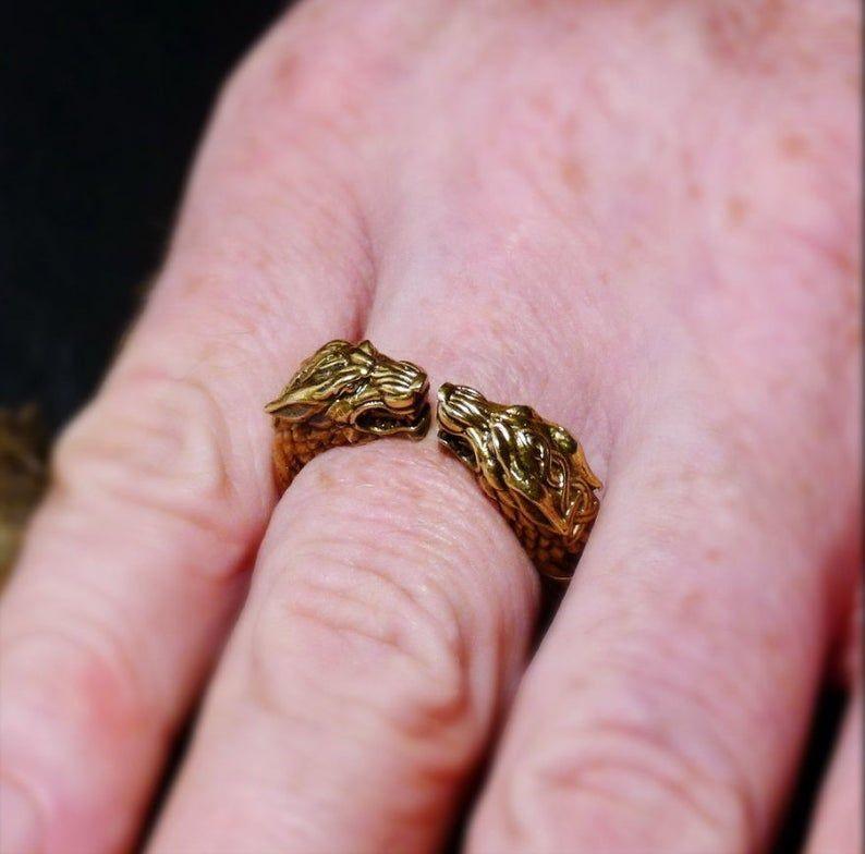 Anillo de lobos – Anillo de bronce para hombre – anillo celta – Anillo vikingo – Anillo de motociclista