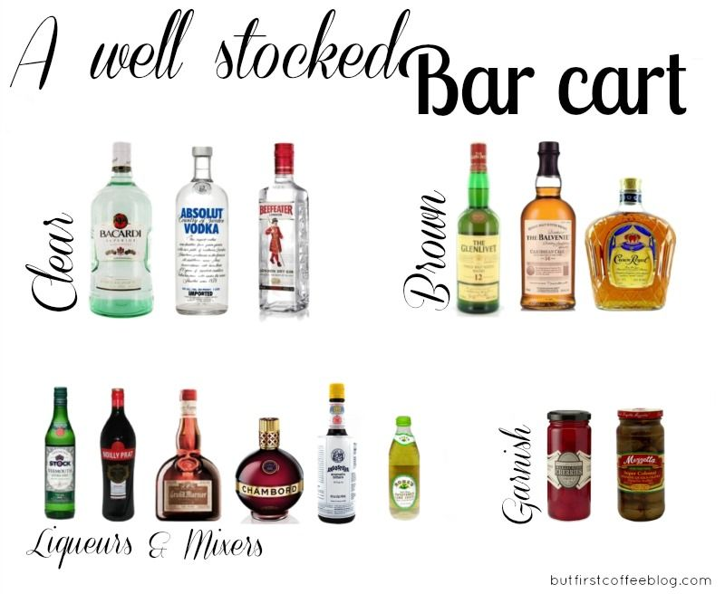 But First Coffee A Well Stocked Bar Cart Home Bar Essentials Bar Items Bar Cart Essentials