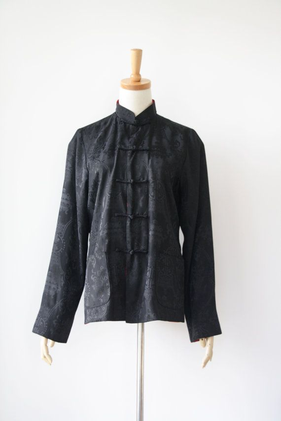RESERVED FOR J Do not buy///Vintage black satin chinese jacket. Red ...