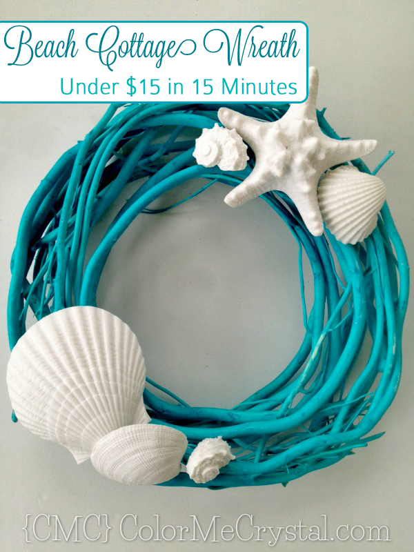 This #DIY #beach cottage wreath is so simple and easy! This was was under $15 and took less than 15 minutes! This and more at www.ColorMeCrystal.com