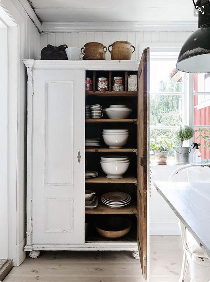 kitchen armoire vintage island freestanding cabinets storage ideas furniture in the monochromatic antique