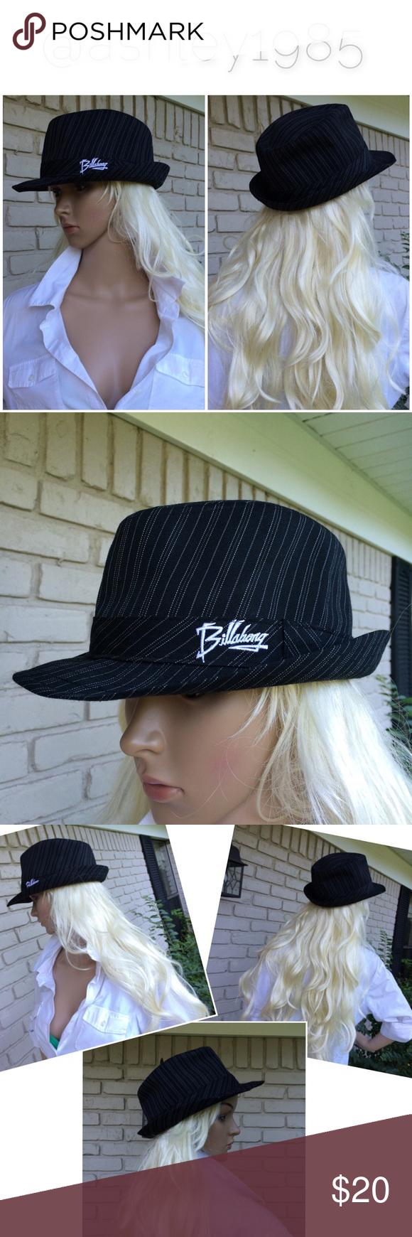 Billabong Black White Pinstripe Fedora Hat Trendy Hat Black Fashion Pinstripe