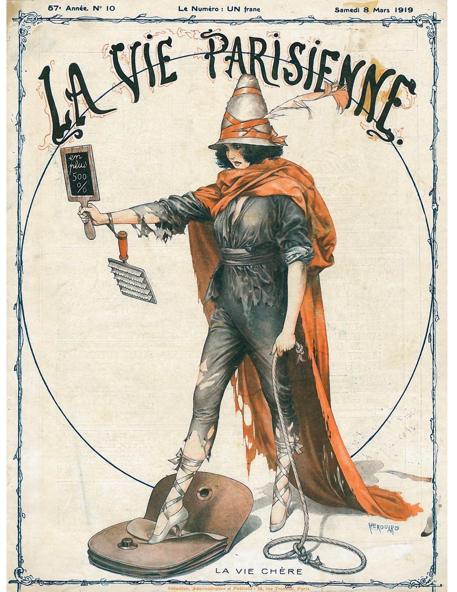 La Vie Parisiennne (France)  8 March 1919  Vol. 57, No. 10   Cover Art - Chéri Hérouard