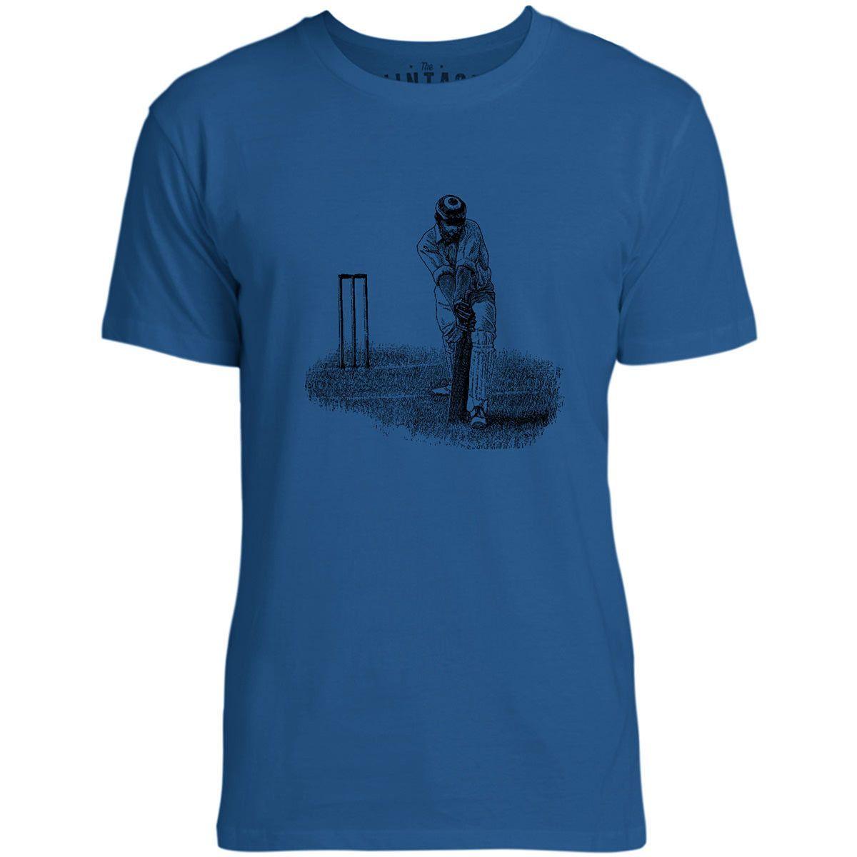Mintage Cricket Shot Mens Fine Jersey T-Shirt (Royal)