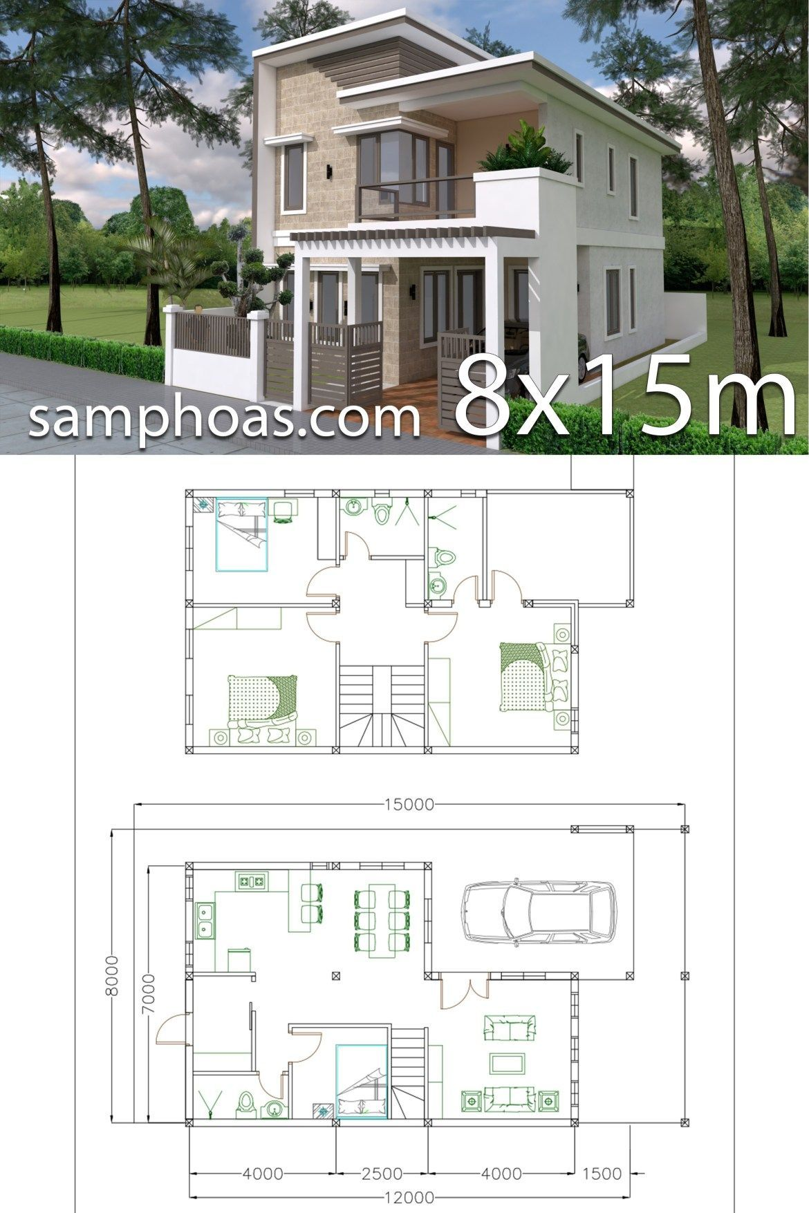 Home Design Plan 7x12m With 4 Bedrooms Plot 8x15 Model House Plan House Construction Plan House Plans