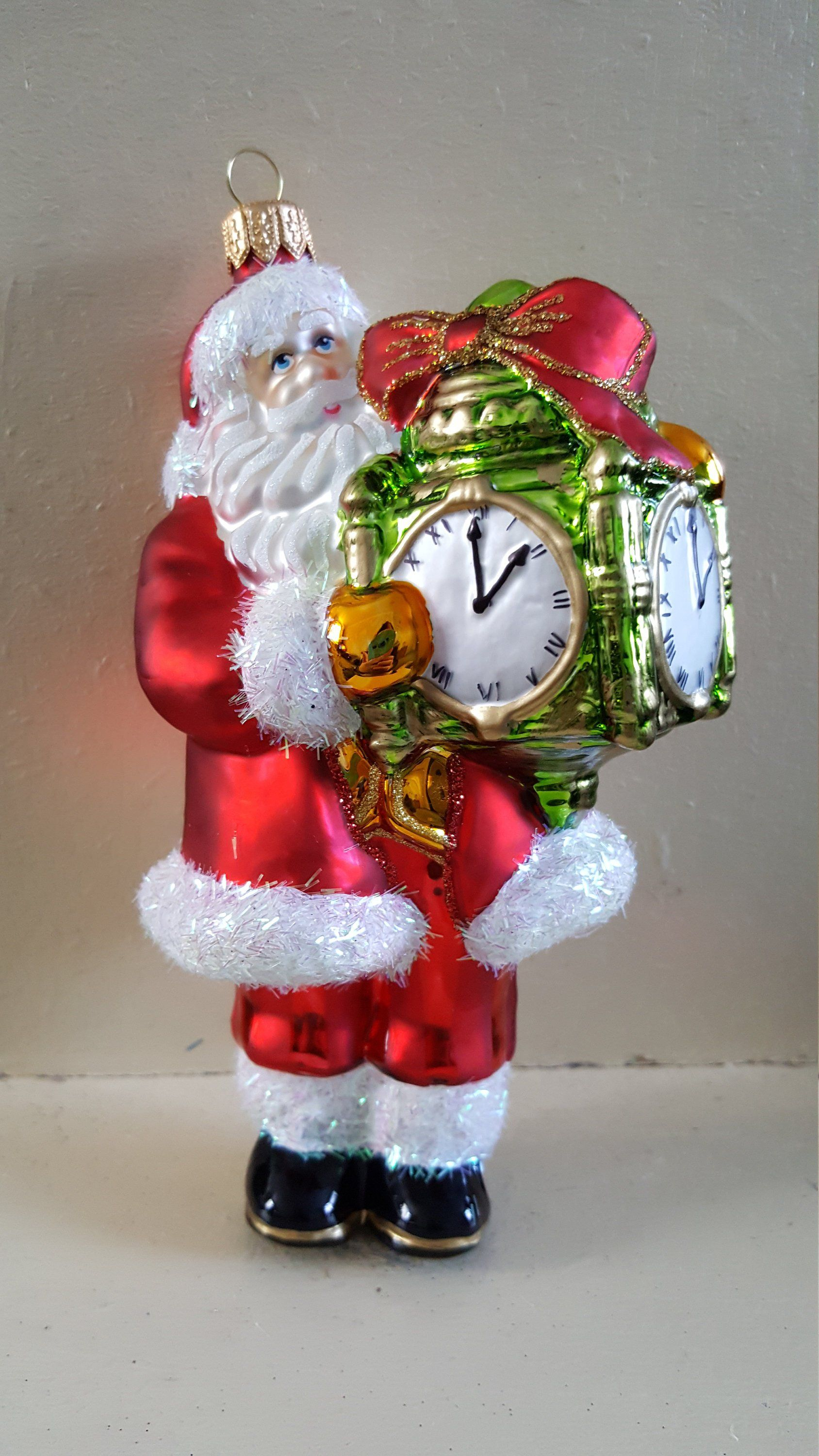 Blown Glass Santa With Clock Glass Christmas Ornament 5 Made In Poland By Ukbeadson Christmas Ornaments Vintage Christmas Ornaments Glass Christmas Ornaments