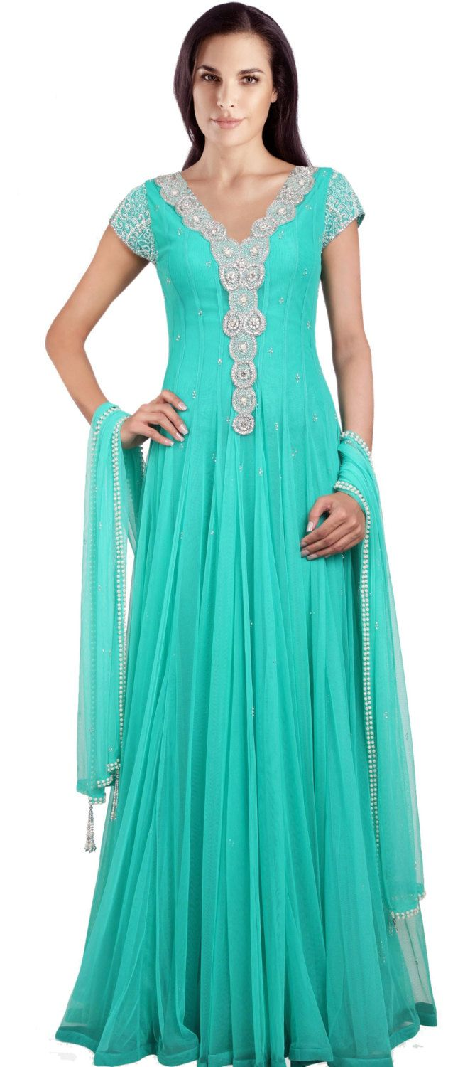 MA 159 / Indian Wedding Dress Suits / Sky blue color net anrkali ...