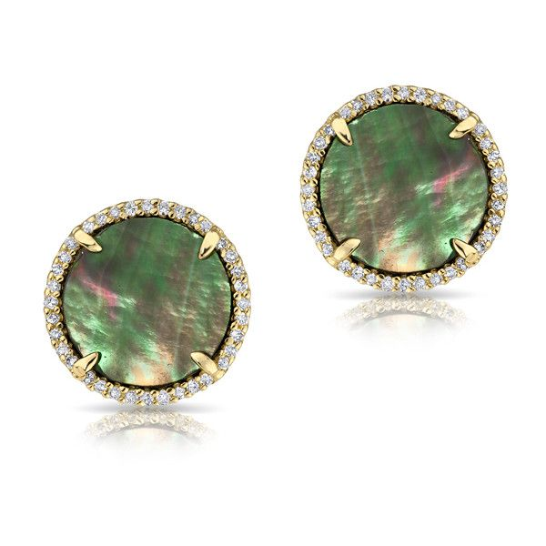Anne Sisteron  14KT Yellow Gold Diamond Black Mother of Pearl Stud... (£730) ❤ liked on Polyvore featuring jewelry, earrings, accessories, gold, mother of pearl jewelry, stud earrings, yellow gold stud earrings, diamond jewellery and gold stud earrings