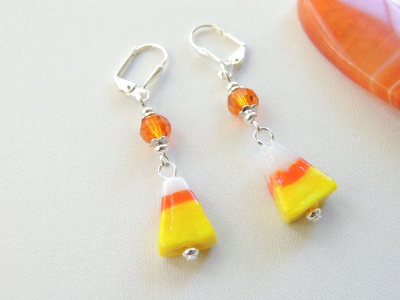 Candy Corn Lampworked Glass Fall Halloween Dangle Earrings