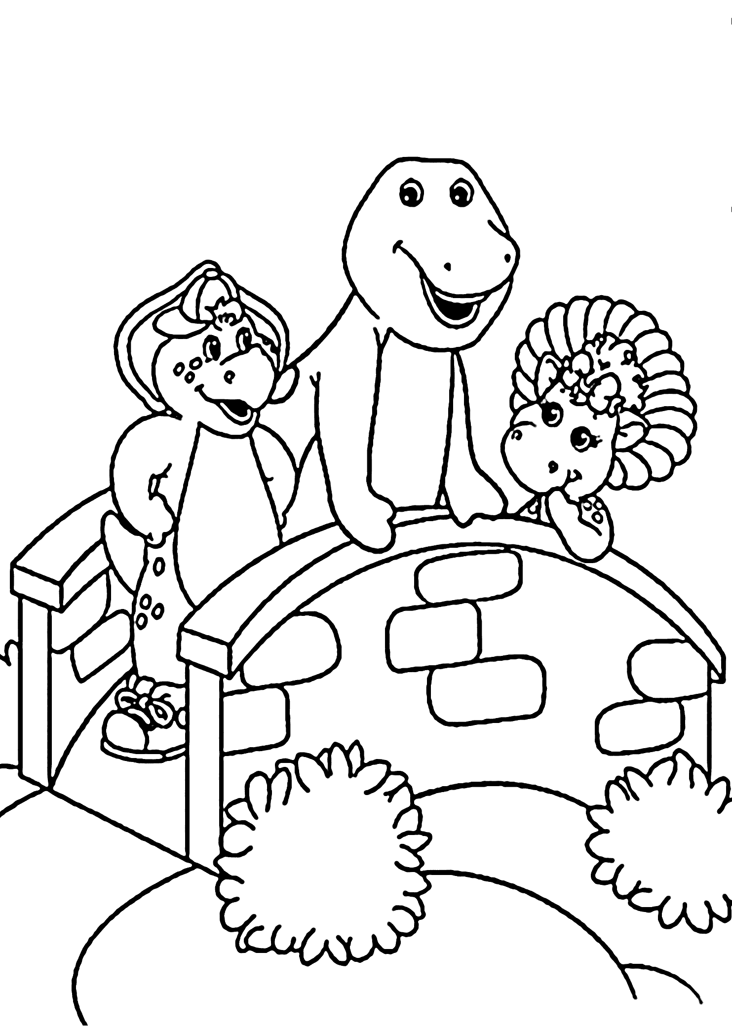 Barney Standing On The Bridge Coloring Pages For Kids Cqw Printable Barney Coloring P Dinosaur Coloring Pages Halloween Coloring Pages Pirate Coloring Pages