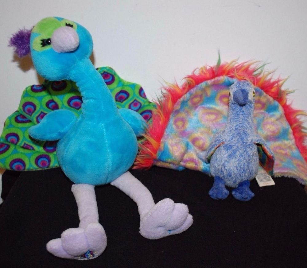 dd039503ca0 LOT STUFFED PLUSH PEACOCK WEBKINS TY BEANIE BABIES FLASHY GANZ STUFFED  ANIMALS…