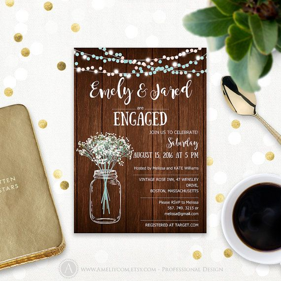 Rustic Engagement Invitation Printable Mason Jar \ Babyu0027s Breath - professional invitation template