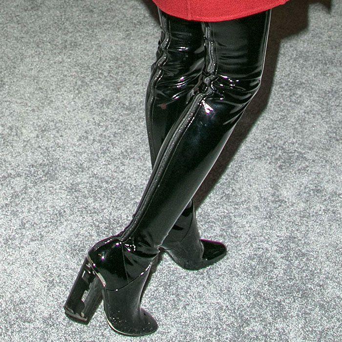 Dior vinyl thigh-high boots
