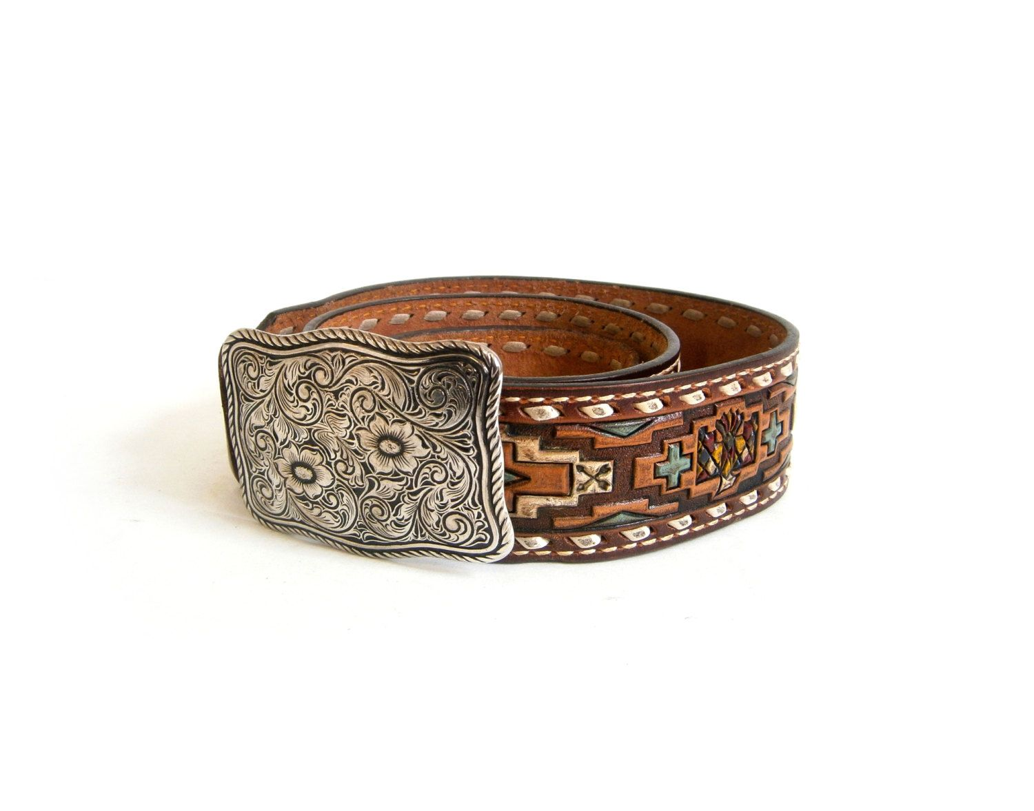 Tony Lama Hand Tooled Leather Belt With Buckle Mens Southwestern Vintage  Size 36