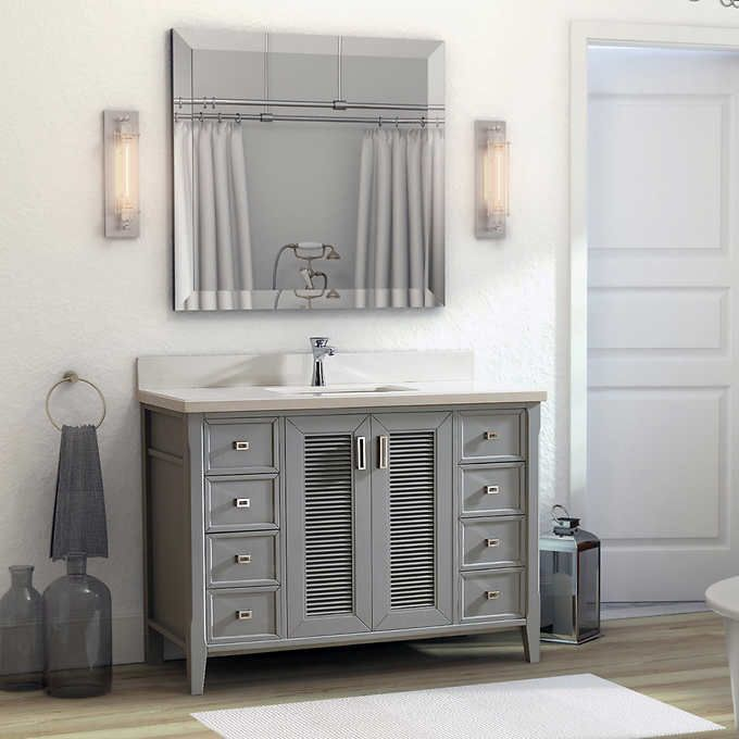 48 Inch Oxford Gray Finish Cottage Bathroom Vanity Cabinet With