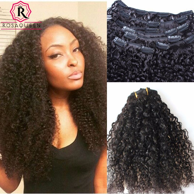 Kinky Curly Clip In Human Hair Extensions 3b 3c African American