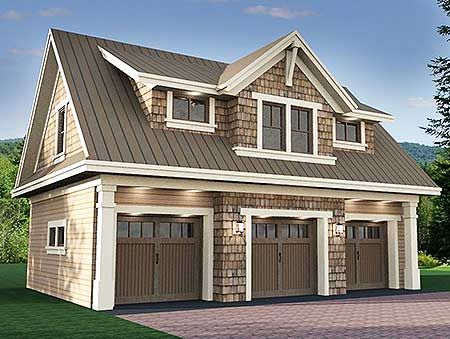 Plan 14631rk 3 car garage apartment with class decking for Three car detached garage plans